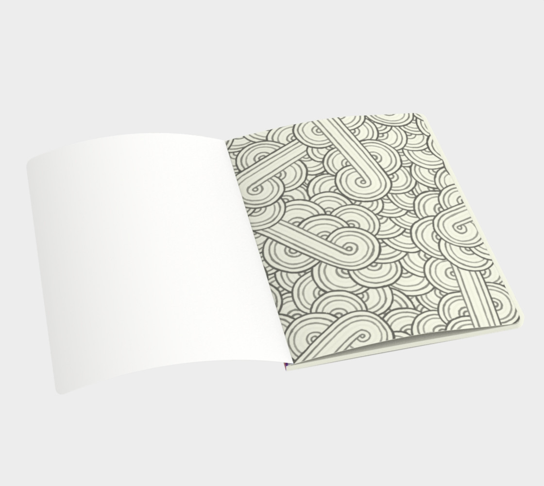 Rainbow and white swirls doodles Large Notebook preview #3