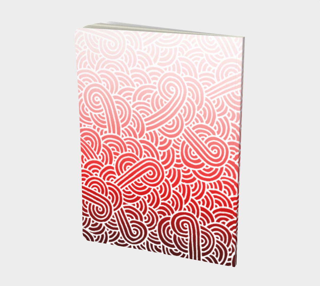 Ombre red and white swirls doodles Large Notebook preview #2