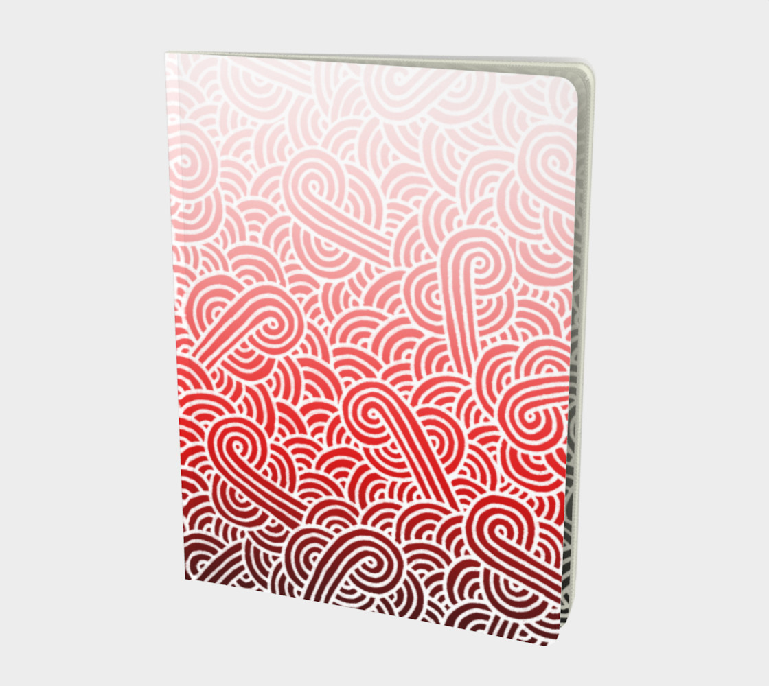 Aperçu de Ombre red and white swirls doodles Large Notebook #1