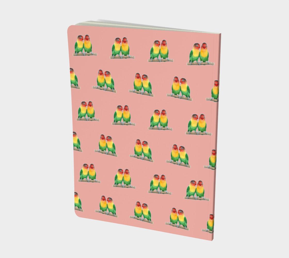 Fischer's lovebirds pattern Large Notebook preview #2