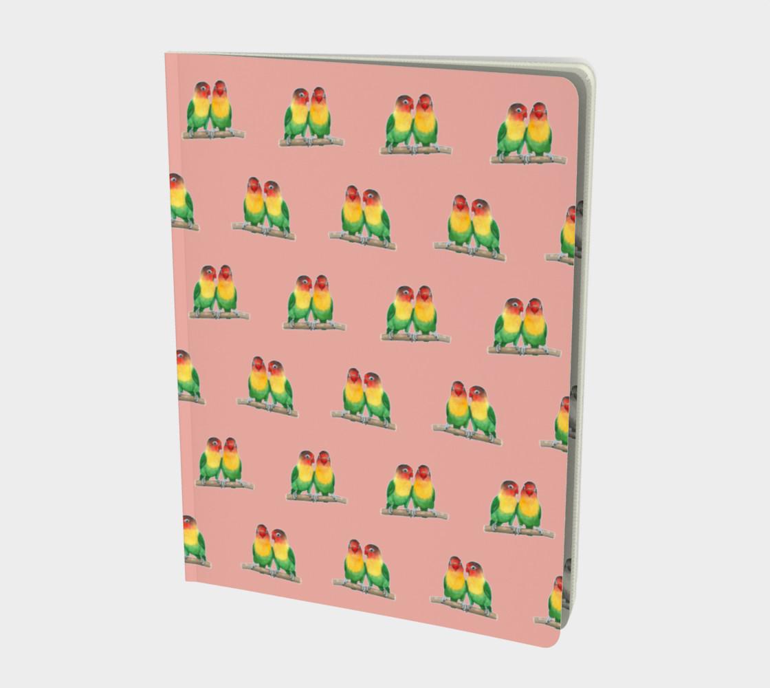 Fischer's lovebirds pattern Large Notebook preview #1
