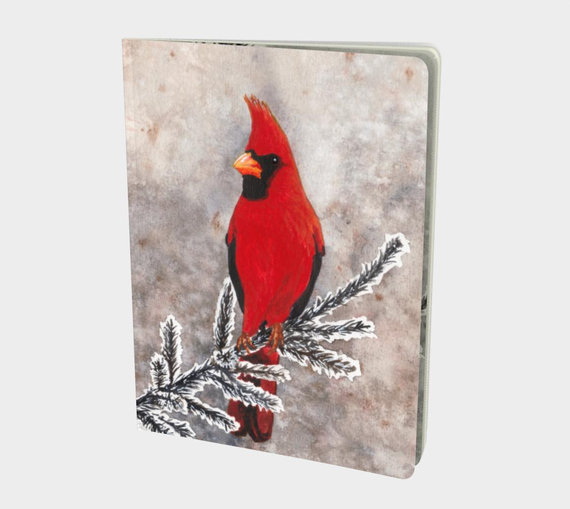 Aperçu de The red cardinal in winter Large Notebook #1
