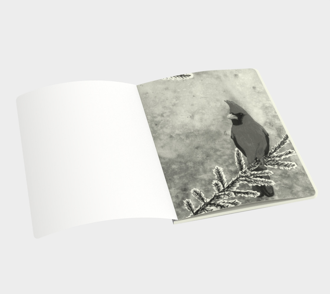 Aperçu de The red cardinal in winter Large Notebook #3
