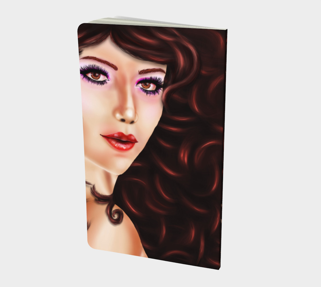 Female portrait with brown eyes and curly hair in digital art preview #2