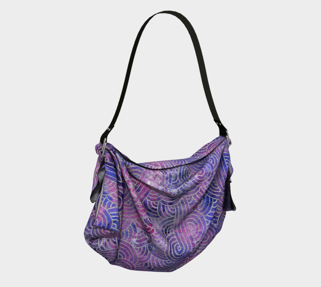 Purple and faux silver swirls doodles Origami Tote preview #2