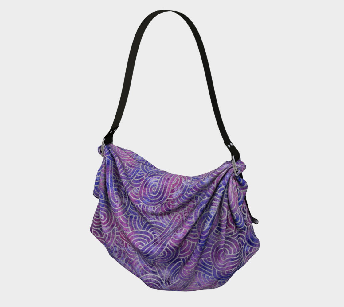 Purple and faux silver swirls doodles Origami Tote preview #1