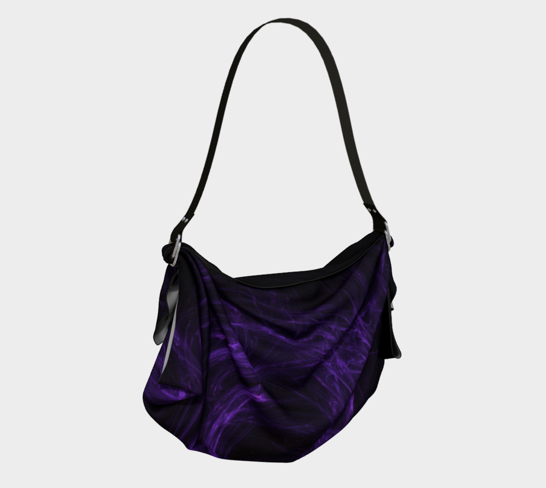 Purple Fractal on Black Origami Tote preview #2
