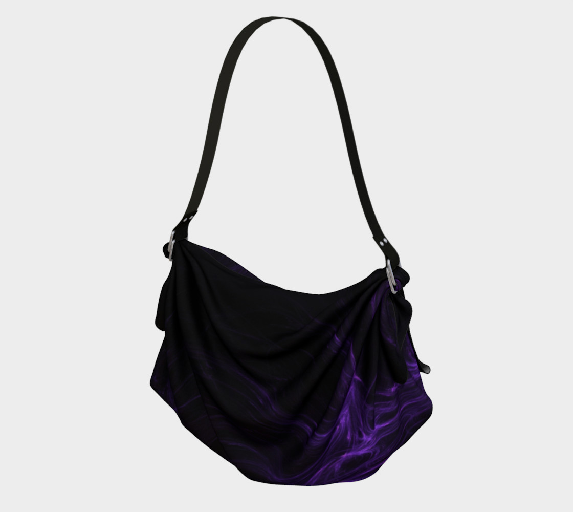 Purple Fractal on Black Origami Tote preview #1