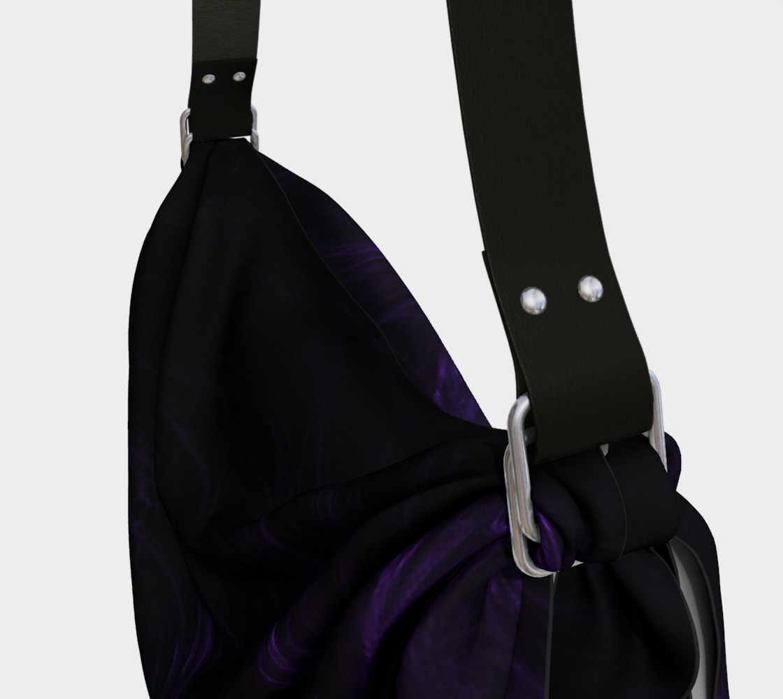 Purple Fractal on Black Origami Tote preview #3