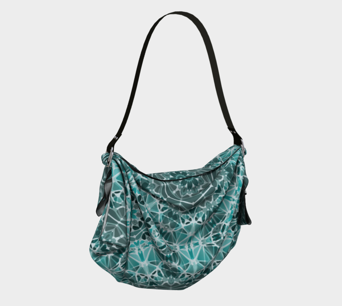 Turquoise & Gray Kaleidoscope Origami Tote preview #2