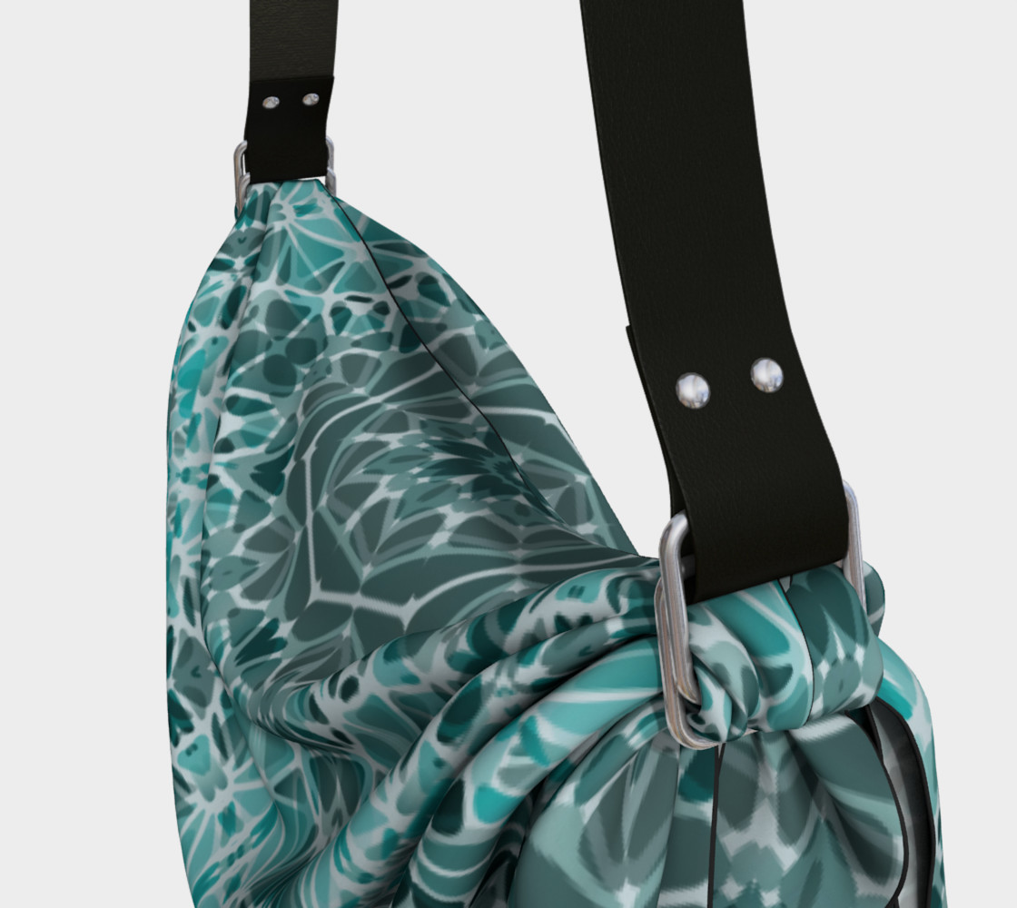 Turquoise & Gray Kaleidoscope Origami Tote preview #3