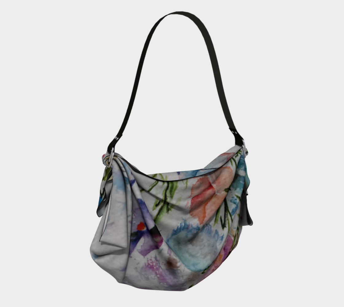 COLORFUL WHIMSICAL FLOWERS Origami Bag preview #2