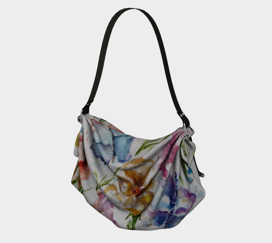 COLORFUL WHIMSICAL FLOWERS Origami Bag preview #1