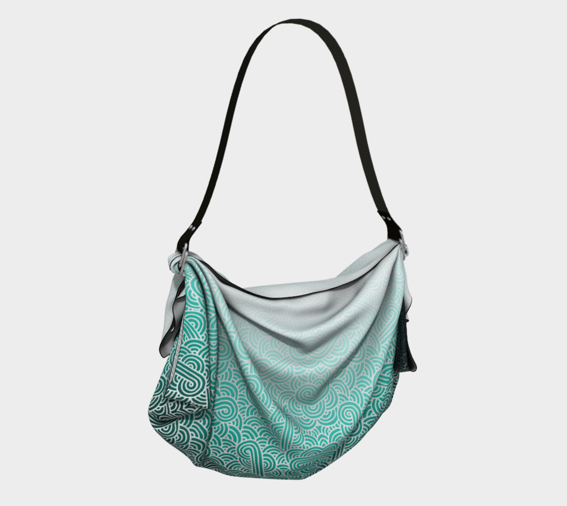 Ombre turquoise blue and white swirls doodles Origami Tote preview #2