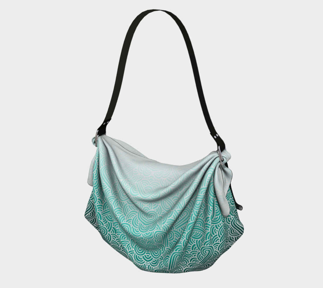 Ombre turquoise blue and white swirls doodles Origami Tote preview #1