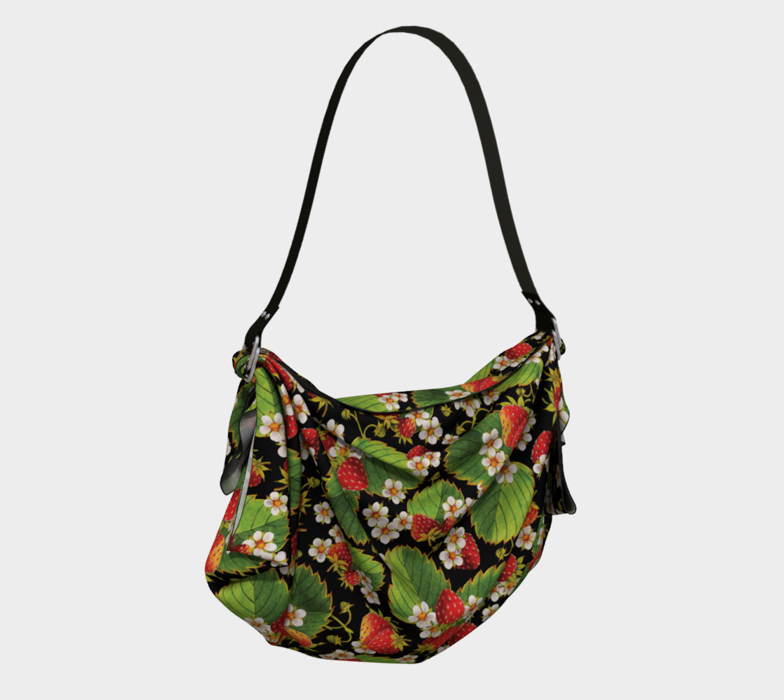 Aperçu de Strawberries on Black Origami Tote Bag #2