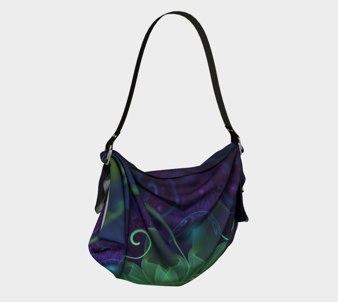 Origami Tote Bag with a Glowing Blue-Green Fractal Lotus Lily Pad Pond preview #2