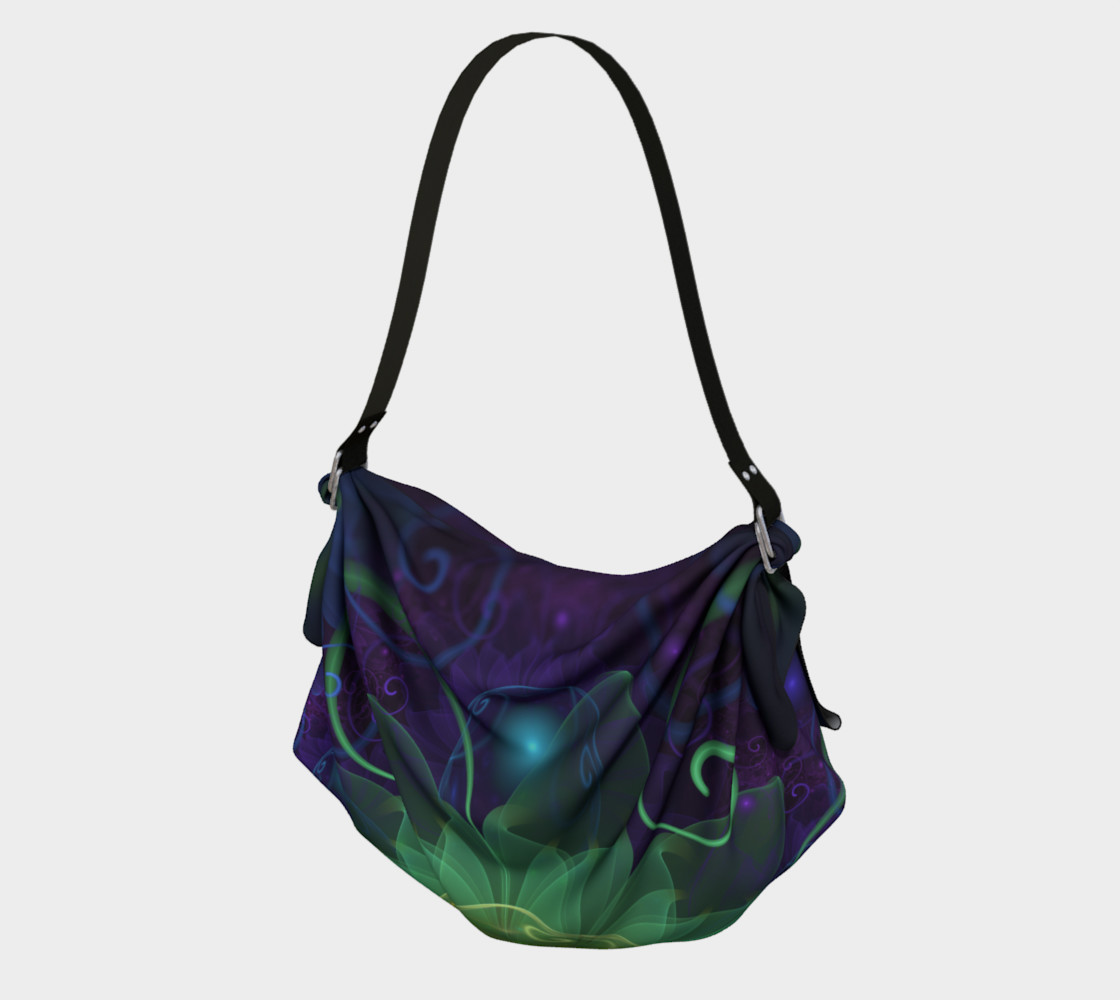 Origami Tote Bag with a Glowing Blue-Green Fractal Lotus Lily Pad Pond preview #1