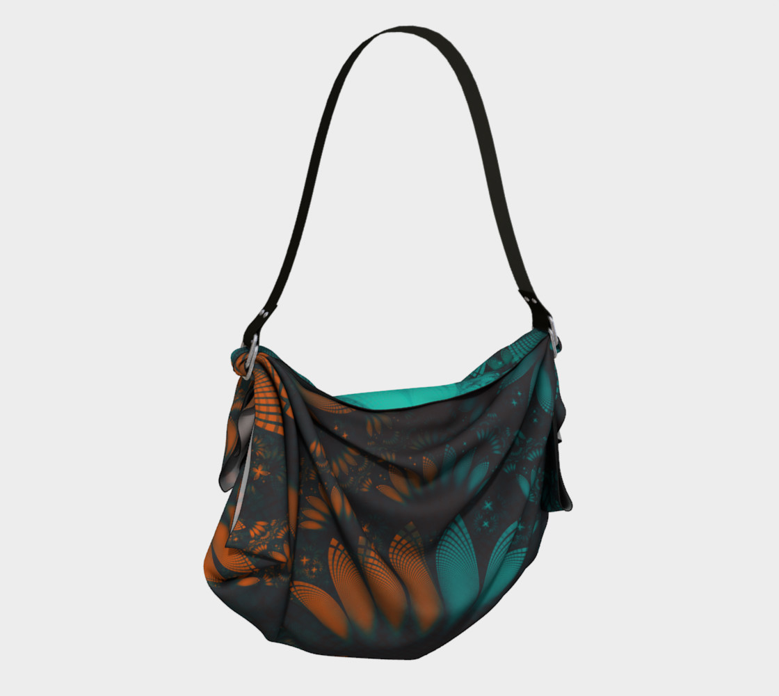 Aperçu de Origami Tote Bag with Beautiful Teal and Orange Paisley Fractal Feathers #2