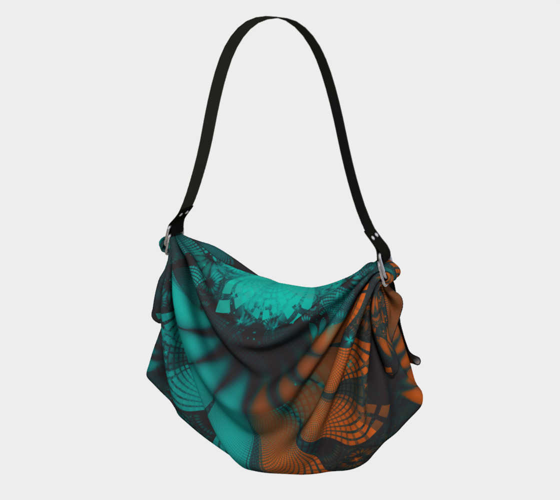 Aperçu de Origami Tote Bag with Beautiful Teal and Orange Paisley Fractal Feathers #1