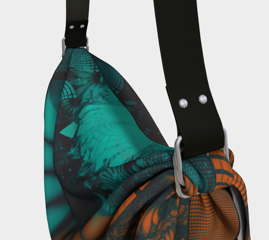 Aperçu de Origami Tote Bag with Beautiful Teal and Orange Paisley Fractal Feathers #3