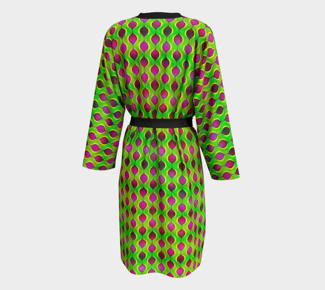 Aperçu de Fun Bright Green Purple Ogee Pattern Peignoir Robe #2