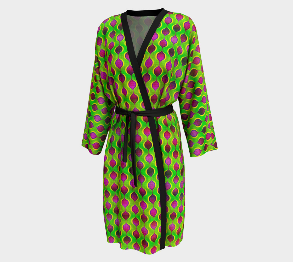 Aperçu de Fun Bright Green Purple Ogee Pattern Peignoir Robe #1