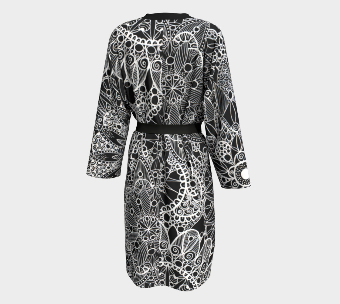 Black and White Mandala Pattern Peignoir preview #2