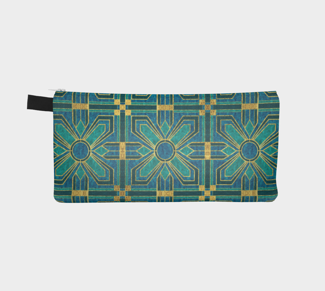 Art Deco Floral Tiles in Turquoise and Blue preview #2