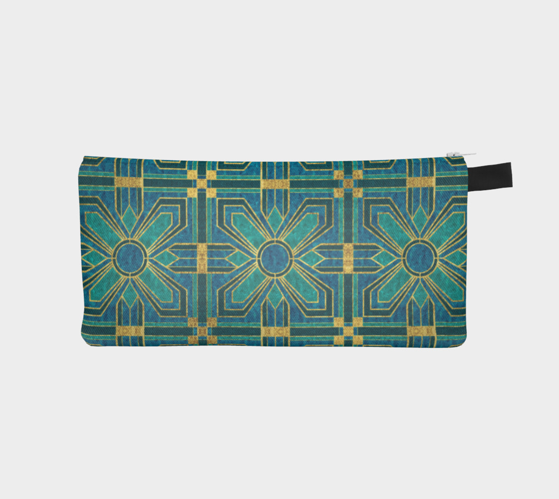 Art Deco Floral Tiles in Turquoise and Blue preview #1