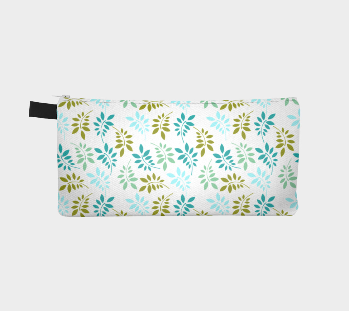 Green leaves pastel pencil case preview #2