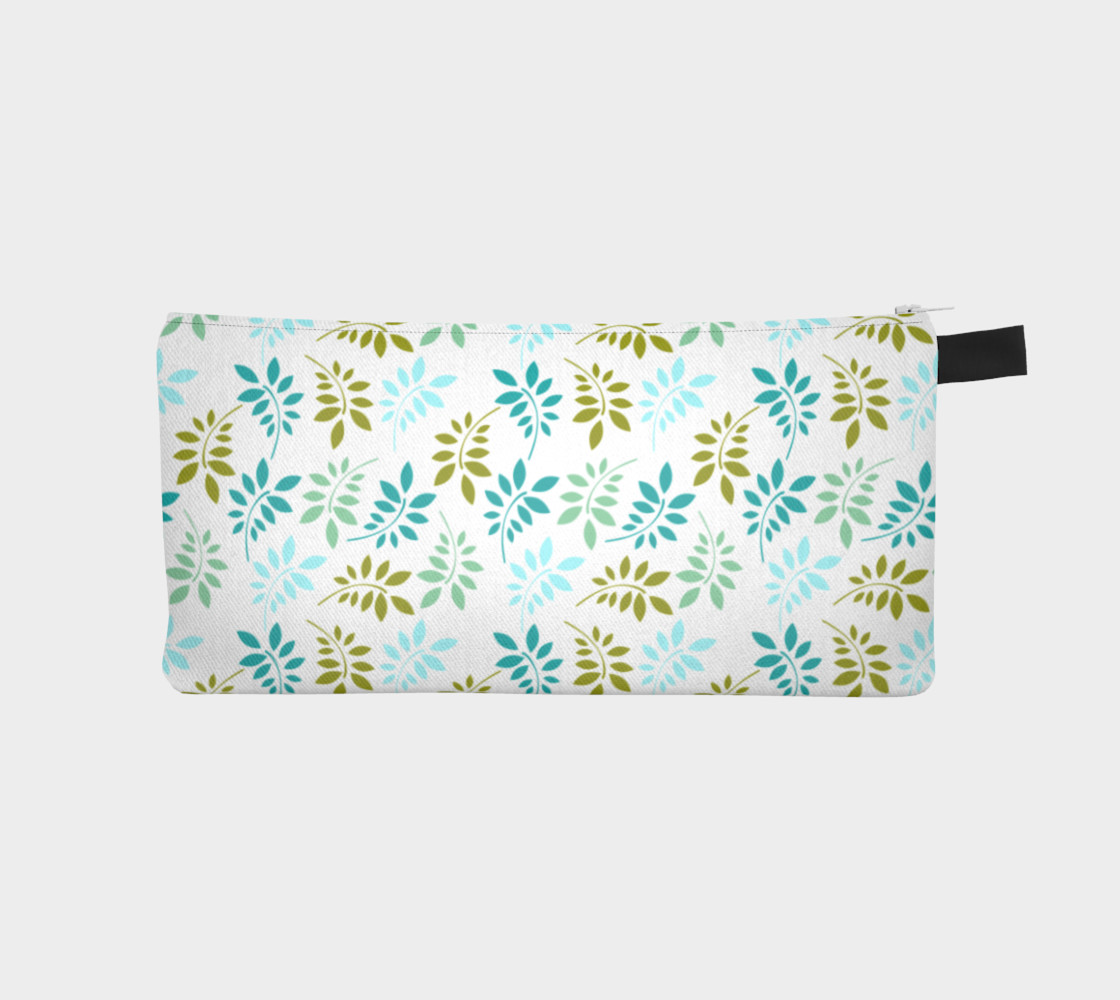 Green leaves pastel pencil case preview #1