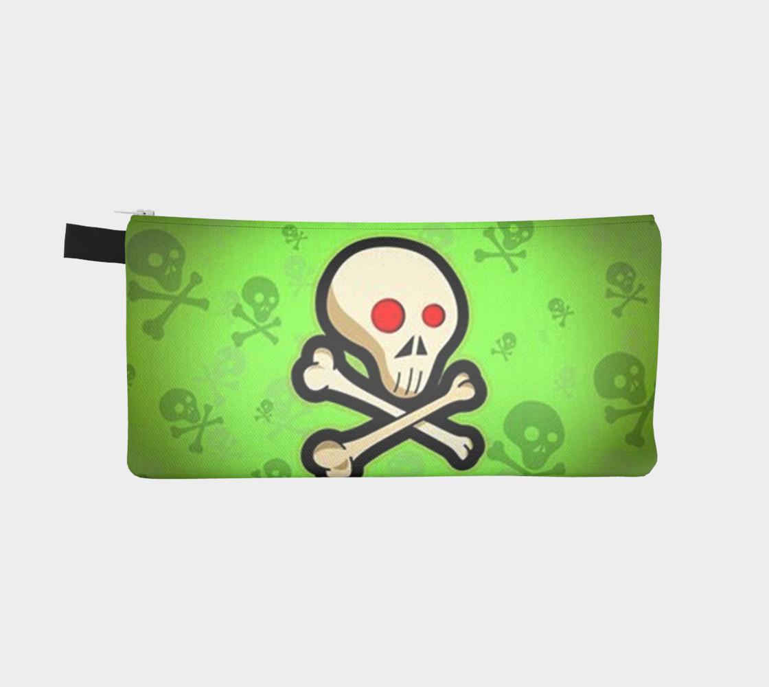 Cartoon Skull On Green Pencil Case bag preview #2