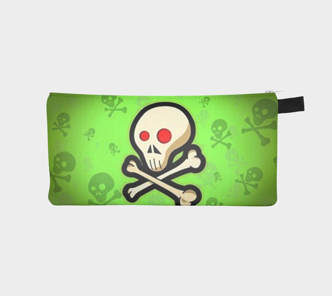 Cartoon Skull On Green Pencil Case bag preview #1