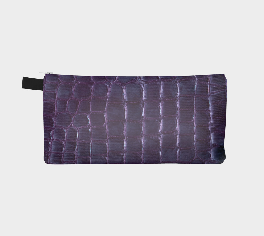 purple faux croco pencil case Miniature #3