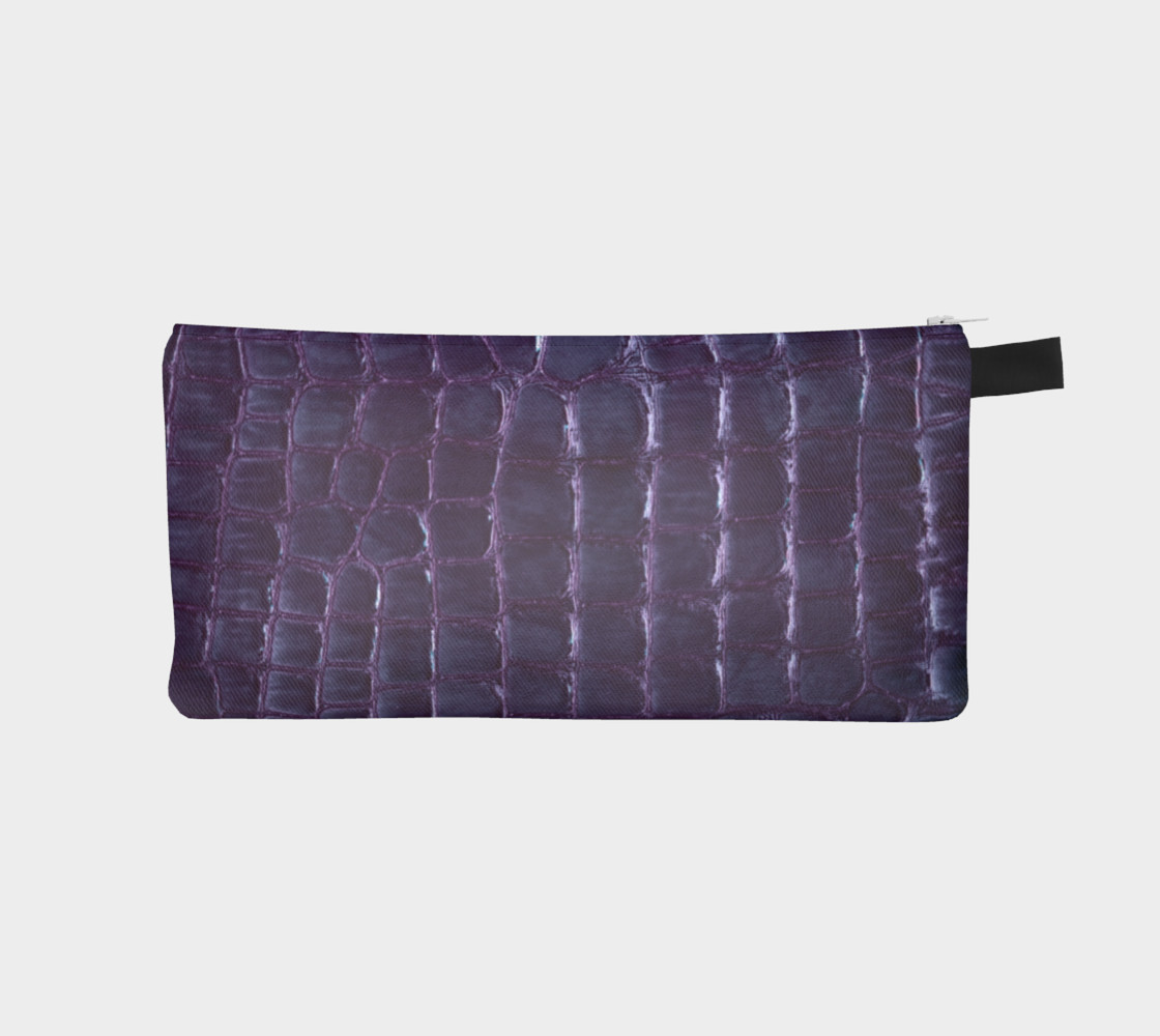 purple faux croco pencil case Miniature #2