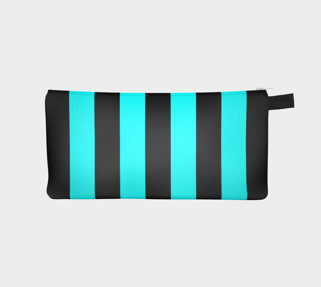 Aperçu de Black and Aqua Blue Stripes #1