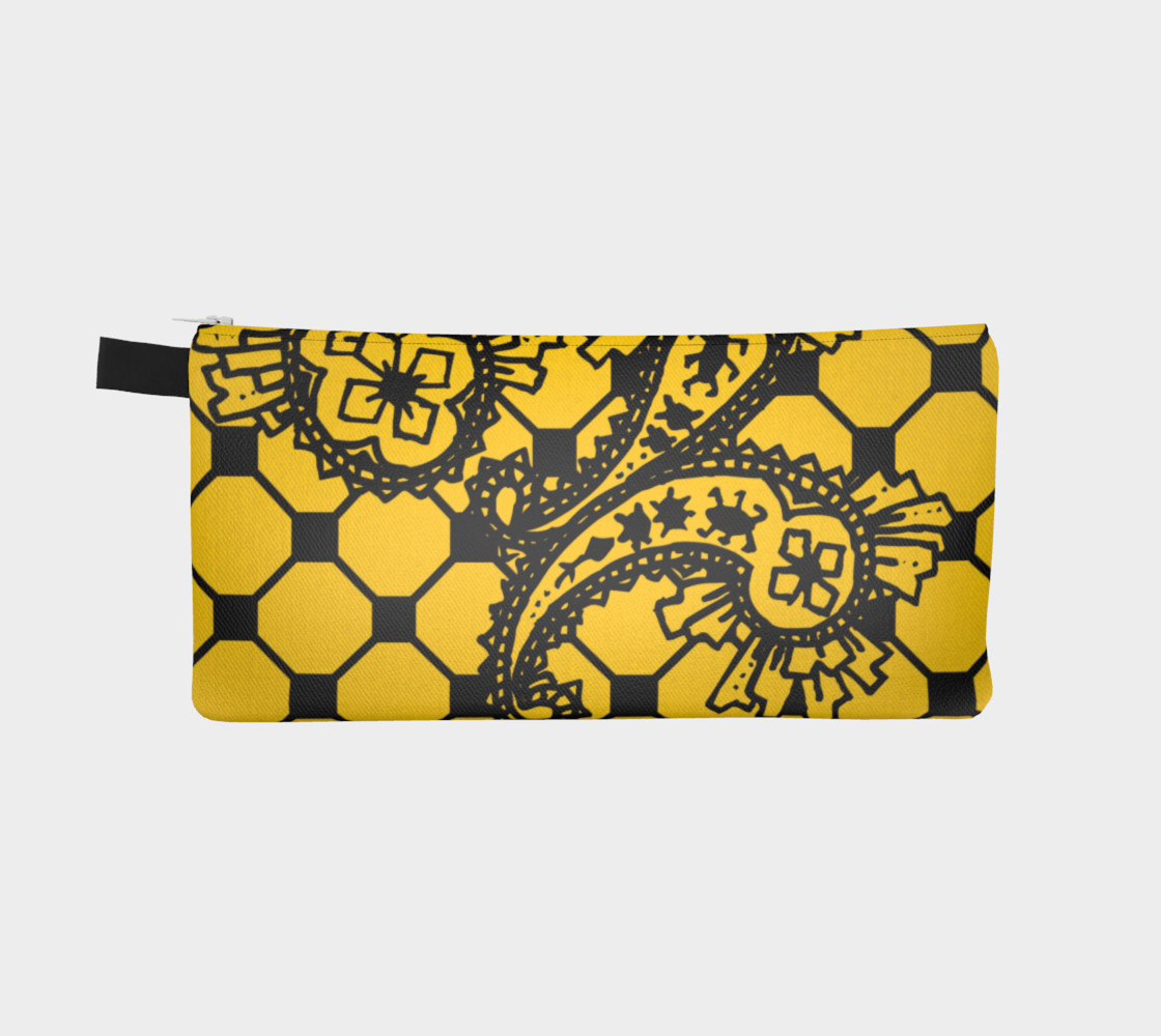 Yellow Grid Paisley Pattern Minton Black Yellow Tile Pattern Paisley Henna Art preview #2