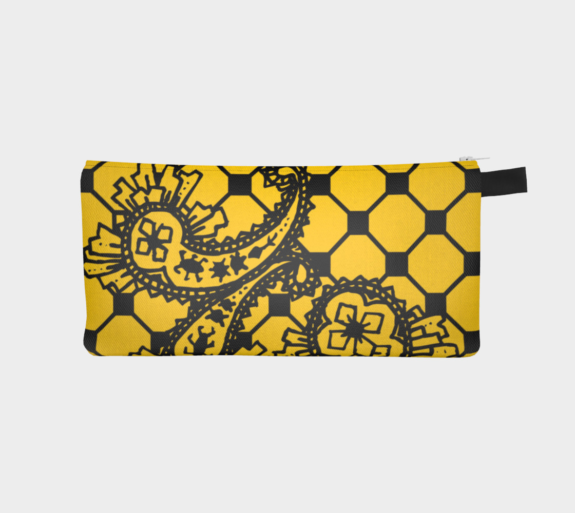 Yellow Grid Paisley Pattern Minton Black Yellow Tile Pattern Paisley Henna Art preview #1
