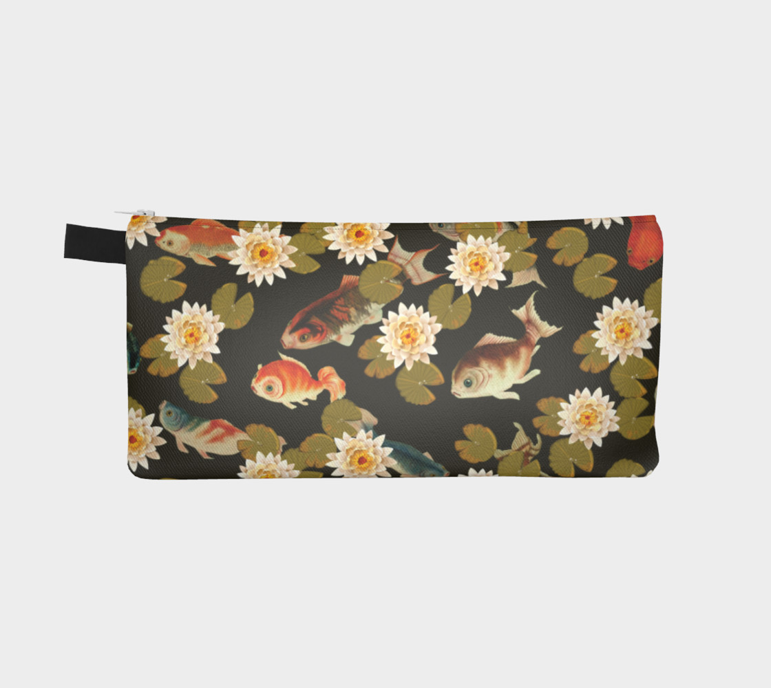 Koi & Lily Pads in Dark Water - Pencil Case preview #2