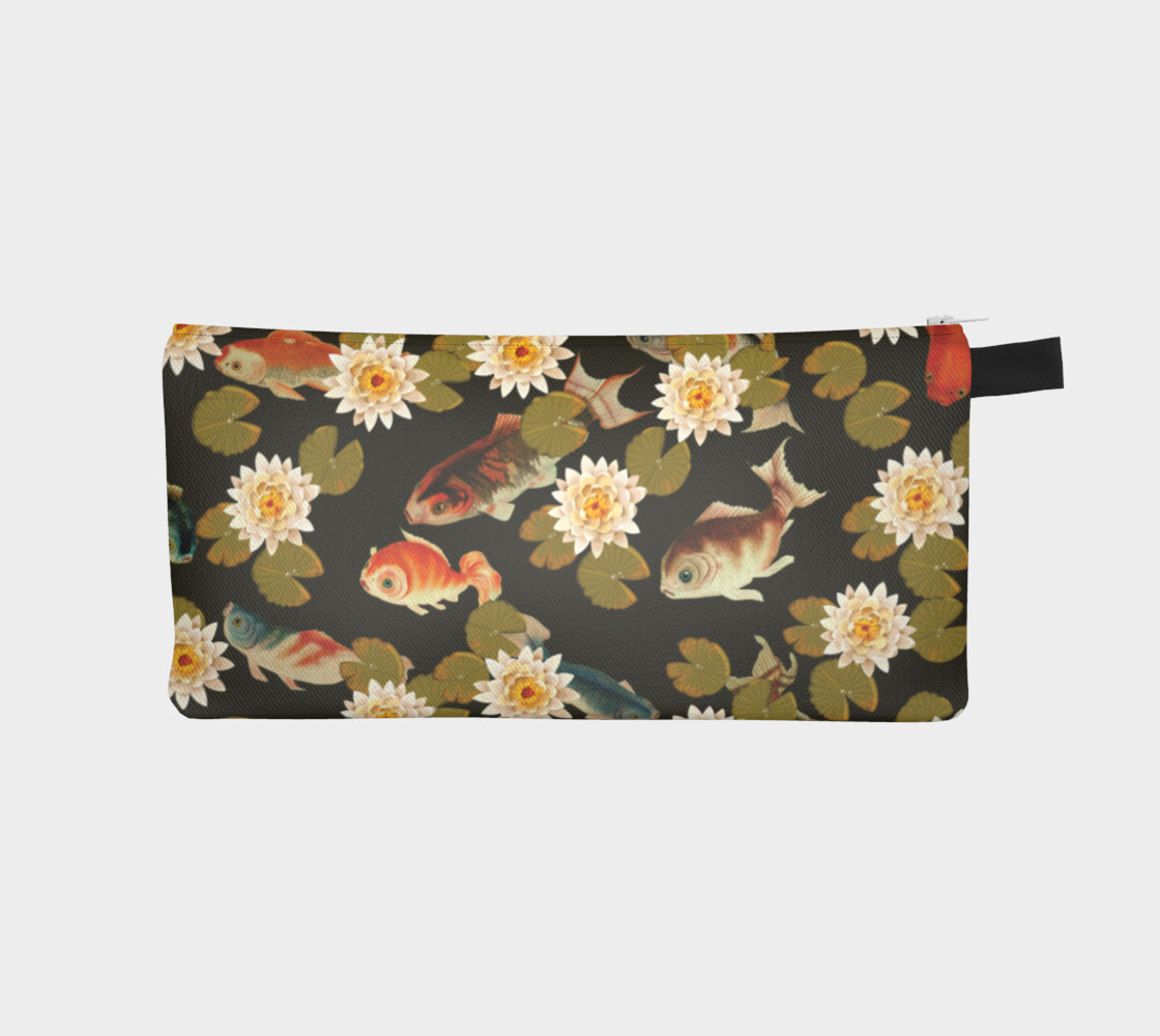 Koi & Lily Pads in Dark Water - Pencil Case preview #1