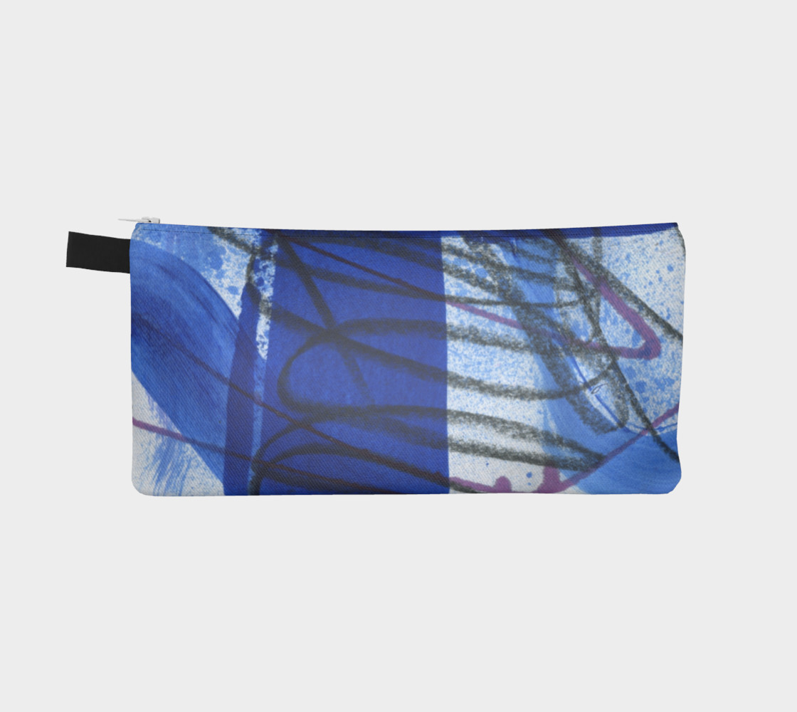 Black, white, and blue pencil pouch preview #2