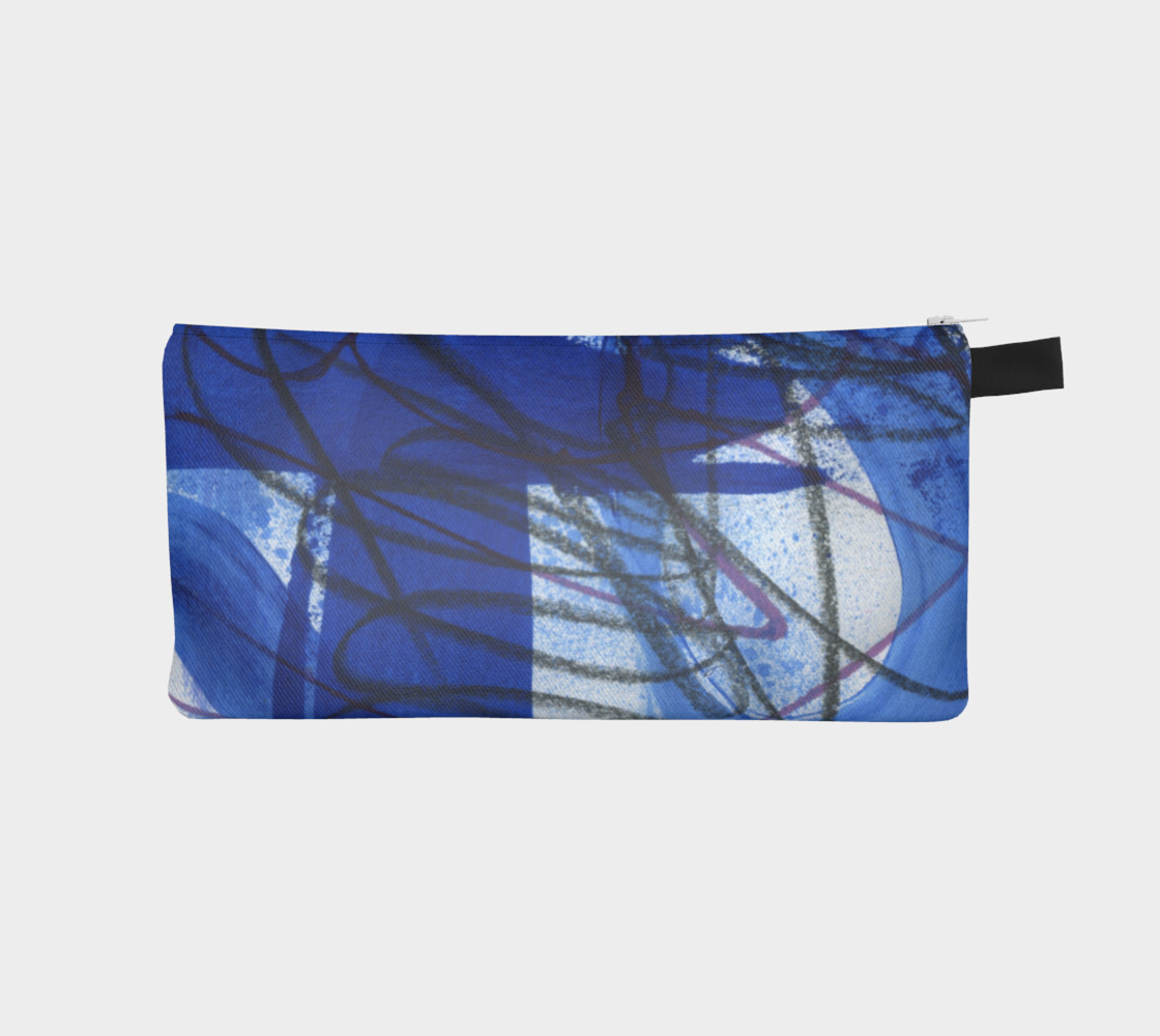 Black, white, and blue pencil pouch preview #1