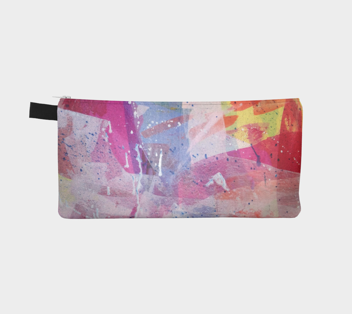 pink abstract pencil pouch preview #2