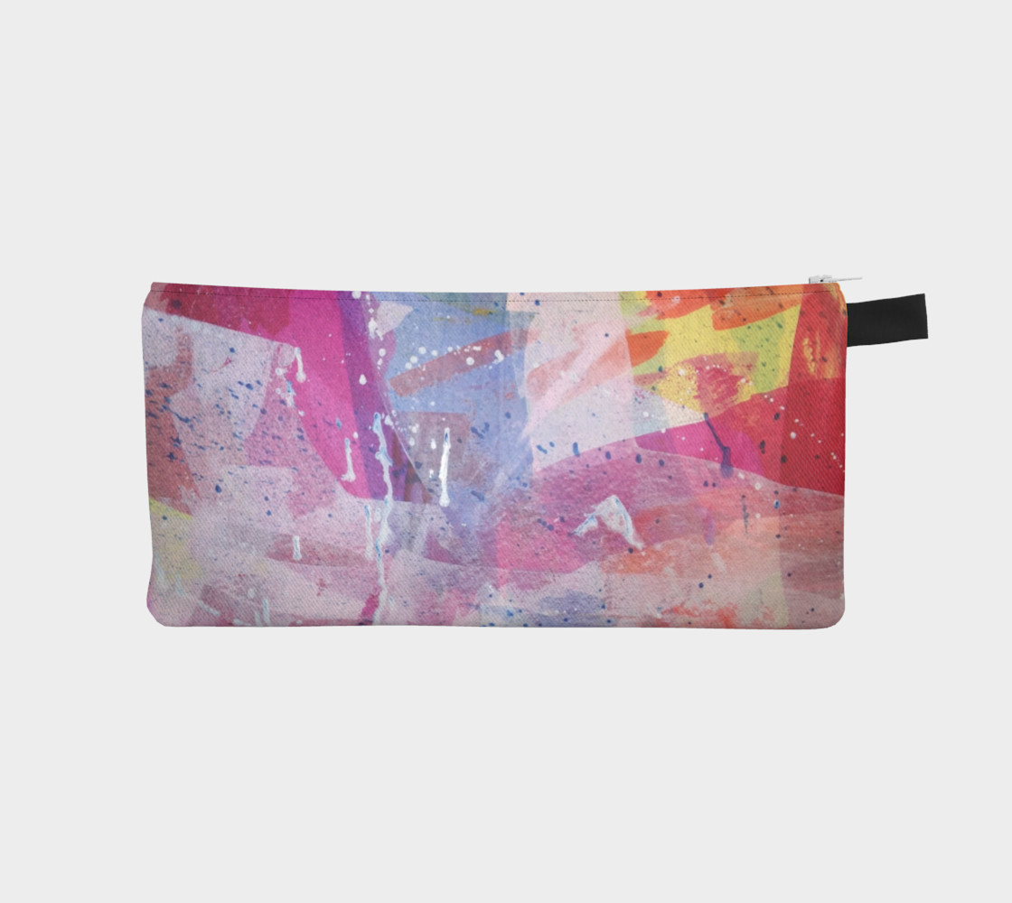 pink abstract pencil pouch preview #1