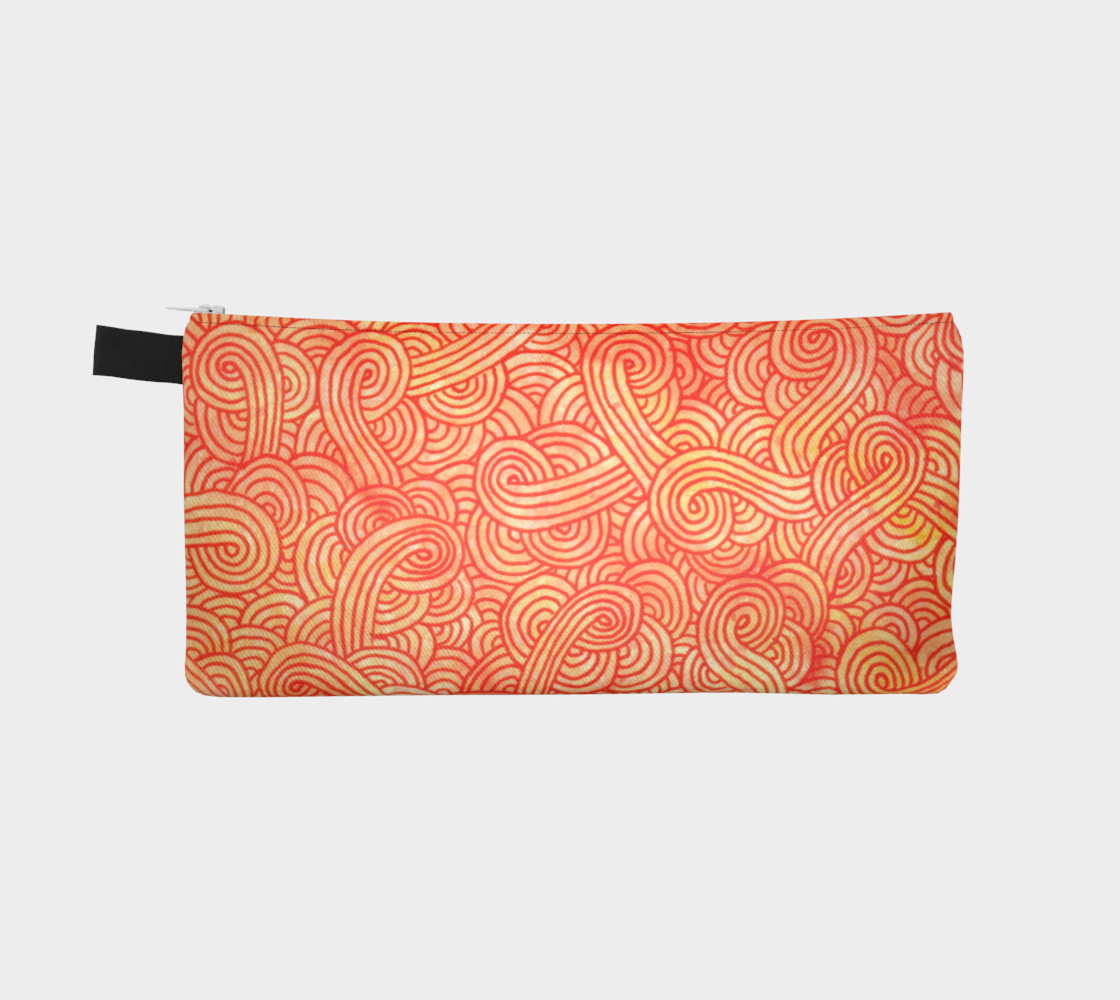 Orange and red swirls doodles Pencil Case preview #2