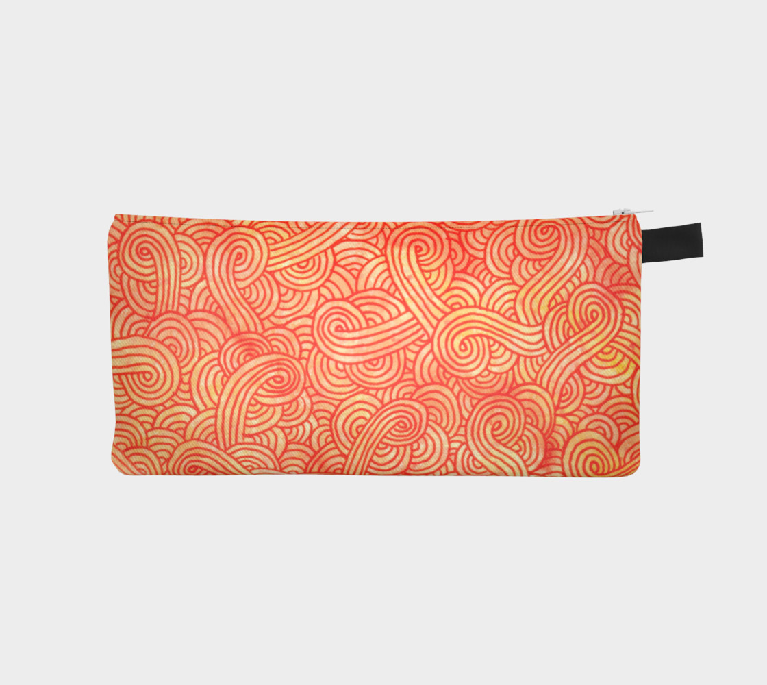 Orange and red swirls doodles Pencil Case preview #1