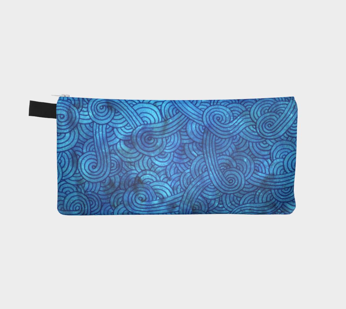 Aperçu de Turquoise blue swirls doodles Pencil Case #2