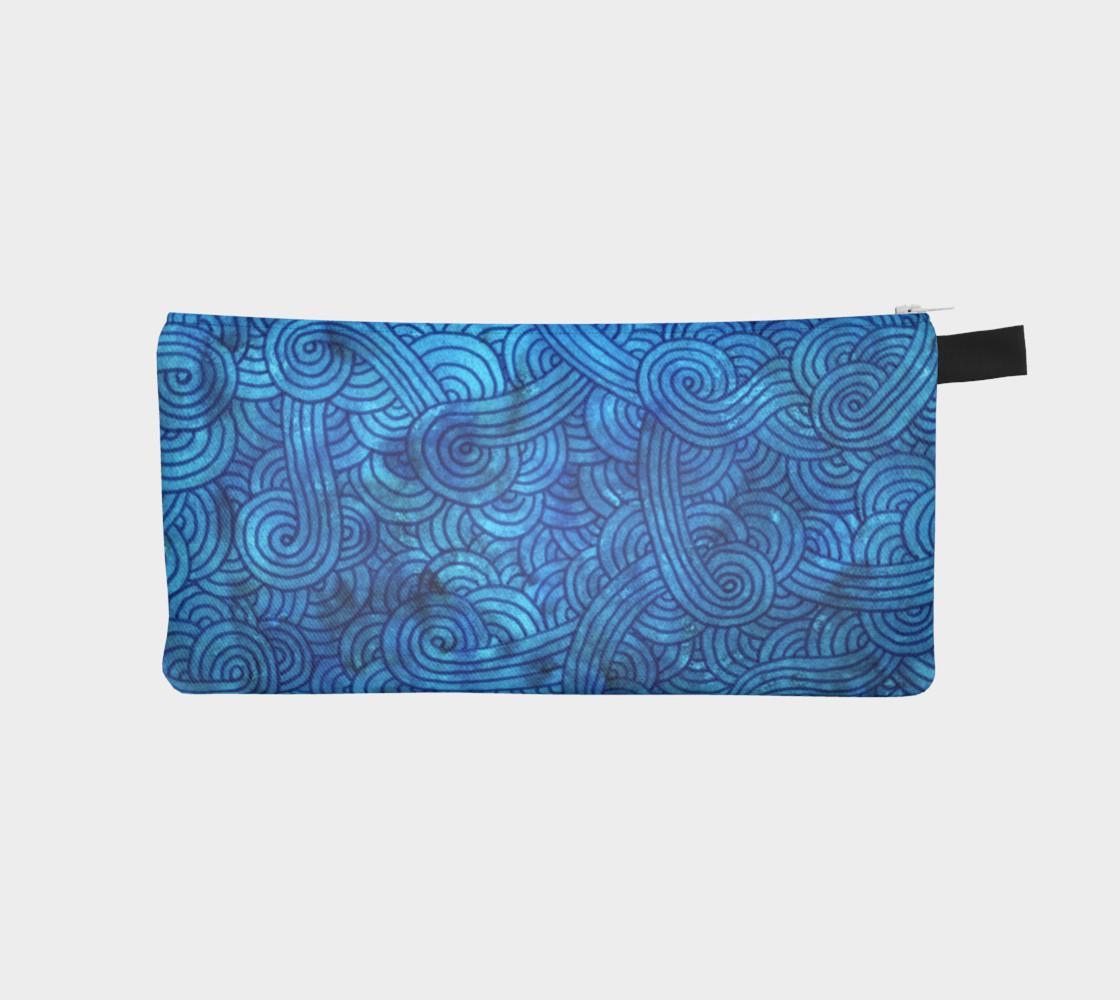 Aperçu de Turquoise blue swirls doodles Pencil Case #1