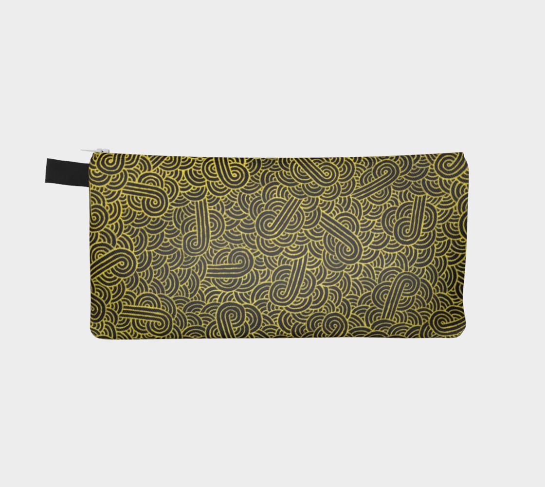 Aperçu de Faux gold and black swirls doodles Pencil Case #2